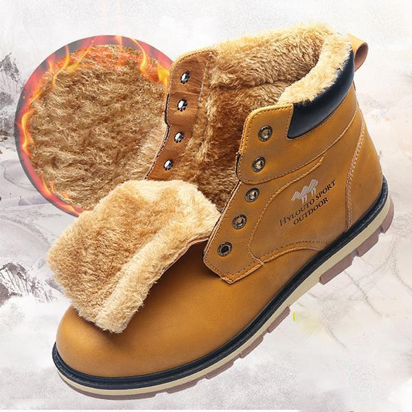 Men High Top Leather Warm Plush Lining Ankle Boots