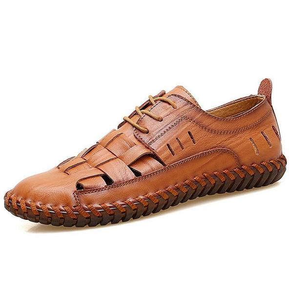 Mens Loafers Fashion Breathable Men Flats Genuine Leather Casual Shoes