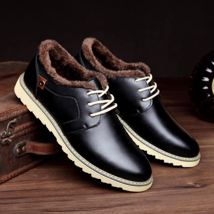 Men British Style Pure Color Warm Fur Lining Casual Shoes