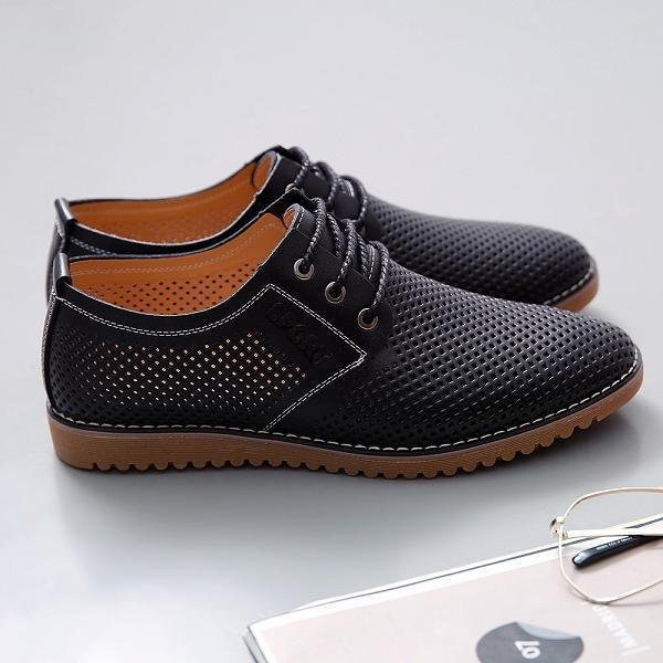 Large Size Men Hollow Leather Casual Shoes