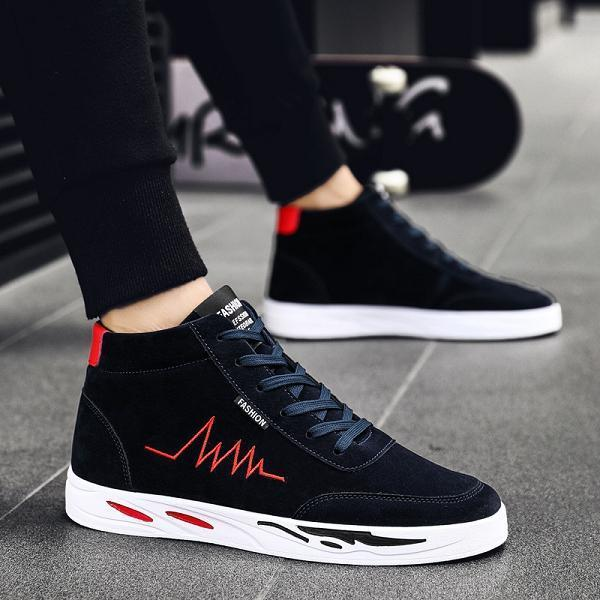 Men Fabric High Top Sneakers Shoes