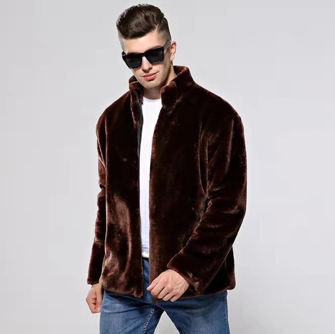 Men Faux Fur Coat Winter Warm Slim Fit Stand Collar Casual Jacket