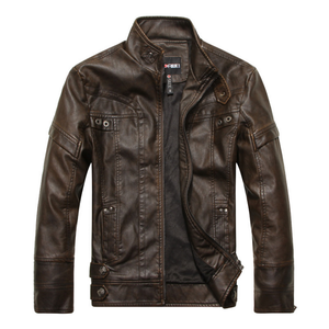 Retro Locomotive Leather Stand Collar Short Jacket