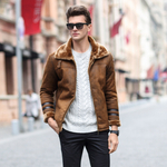 Casual Fashion Thicken Fleece Chamois Leather Suede Jacket