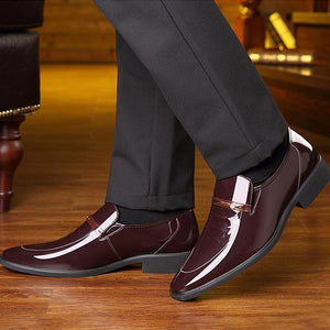 Men Dress Leather Shoes Slip On Formal Oxford Shoes