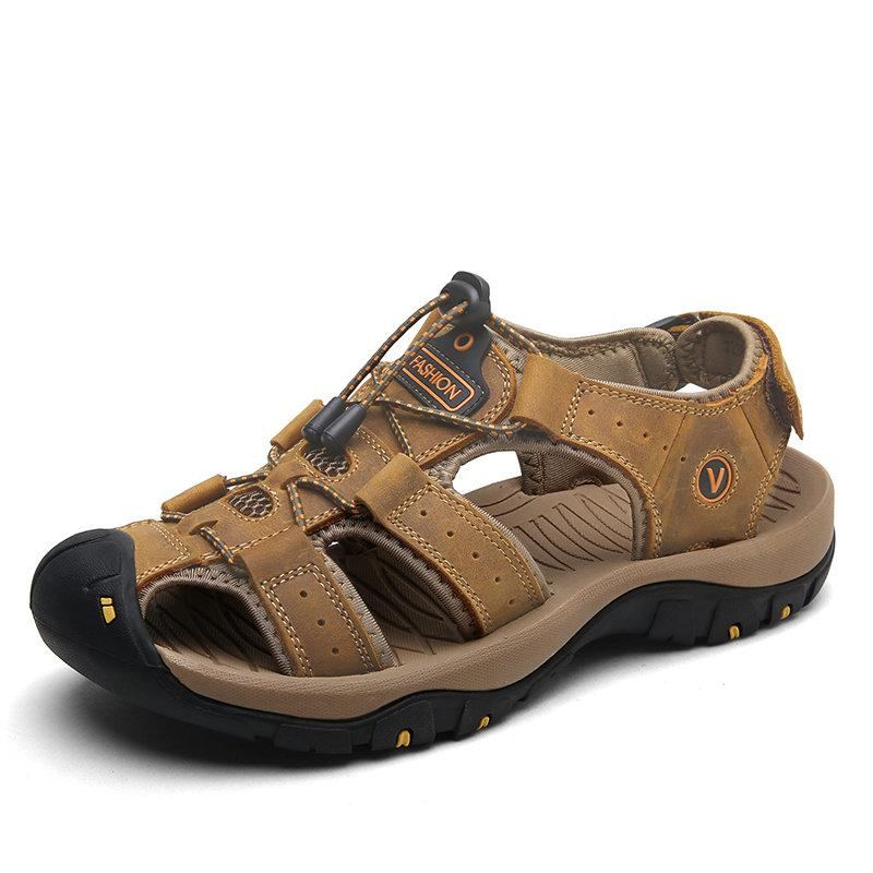 Men Anti-collision Toe Outdoor Slip Resistant Leather Sandals