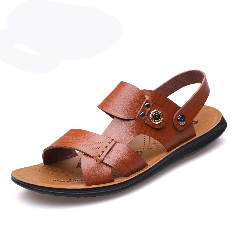 035705095 Mens Leather Breathable Toe Casual Beach Sandals – YEEZE