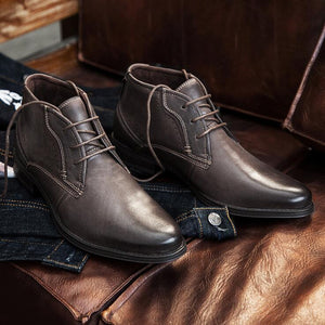 Men Cow Leather Lace Up Casual Boots