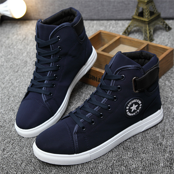Large Size Men Pure Color Leather High Top Casual Boots