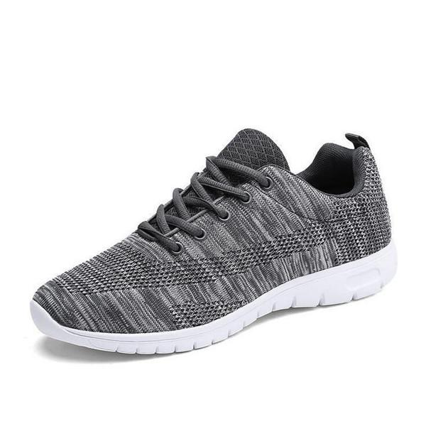 Large Size Men Knitted Fabric Breathable Light Weight Running Sneakers