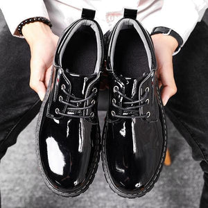 Men Pure Color Business Formal Slip On Lace Up Flat Shoes