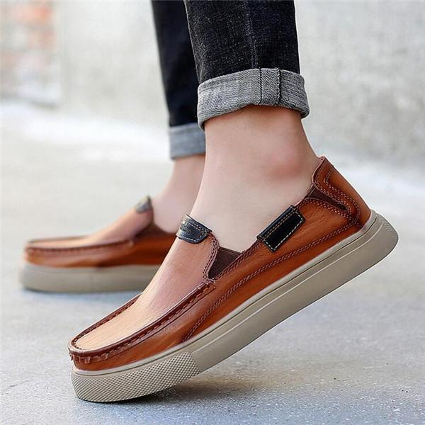 Men Leather Slip Resistant Casual Driving Shoes