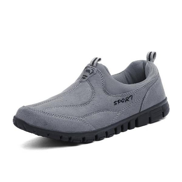 Men Cow Leather Wear-resistant Slip On Suede Hiking Casual Shoes