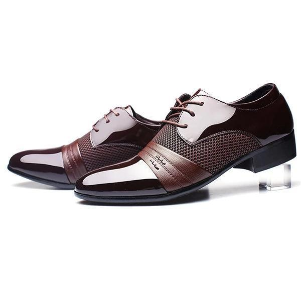 Men Large Size Formal Pointed Toe Lace Up Business Blucher Shoes