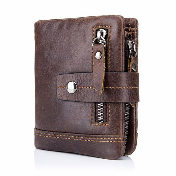 Men Leather Zipper Slim Wallet