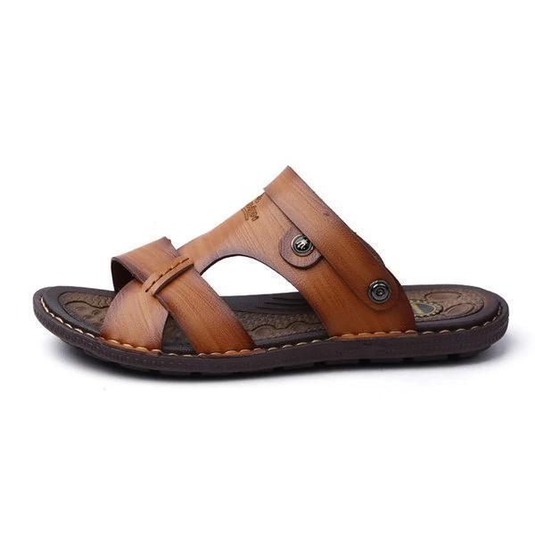 Men Metal Buckle Comfortable Slippers Sandals Flat Casual Beach Shoes