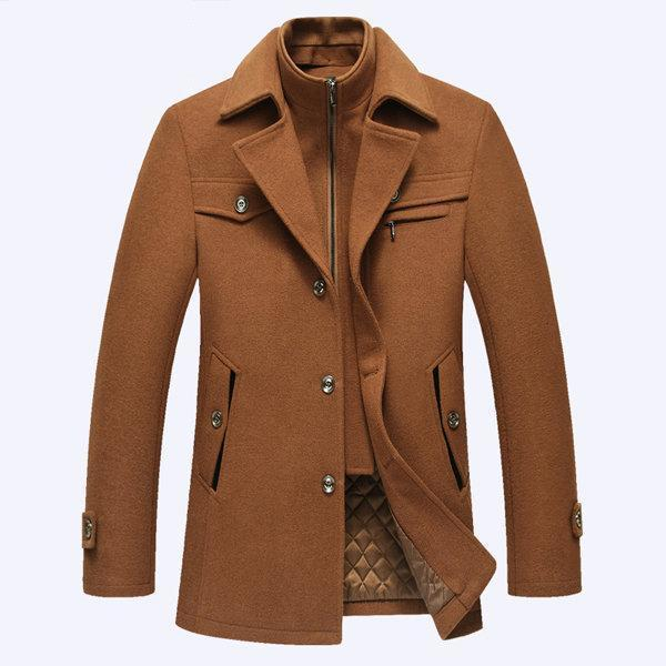 Men Winter Long Wool Overcoat