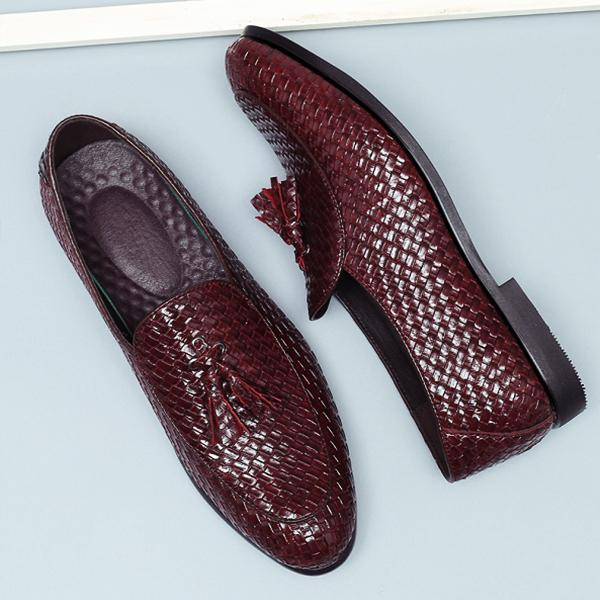 Men Leather Breathable British Style Slip On Formal Shoes