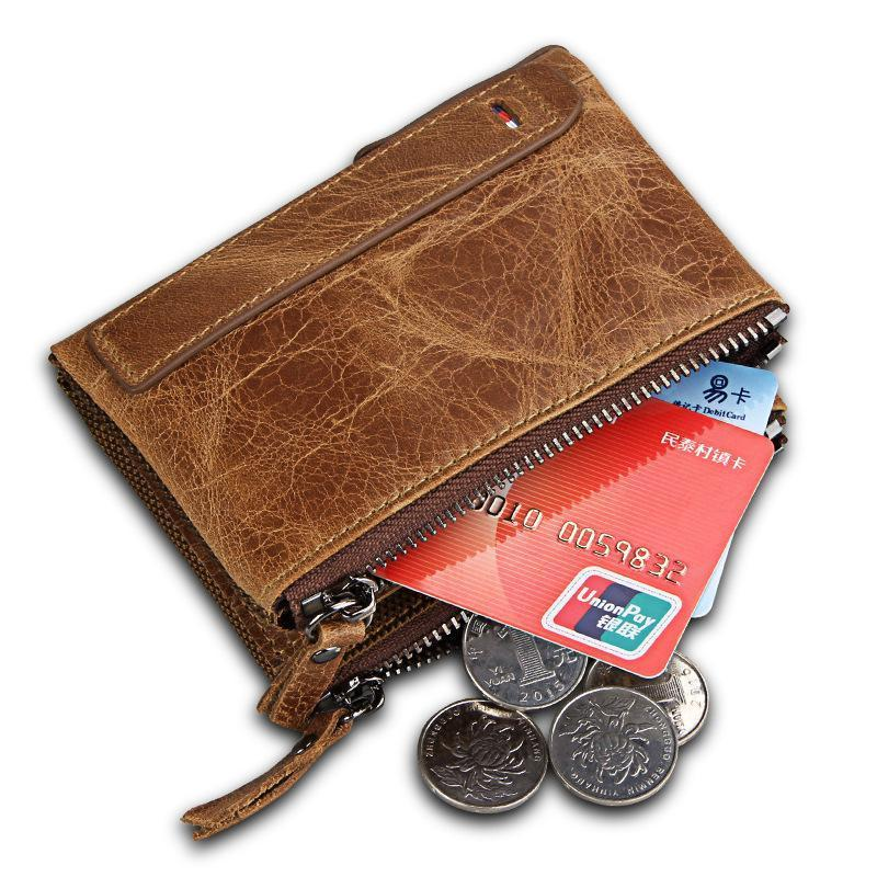 Men's Leather Short Anti-Theft Double Zip Wallet