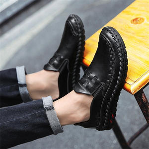 Men  Handmade Genuine Leather Casual Flats Shoes