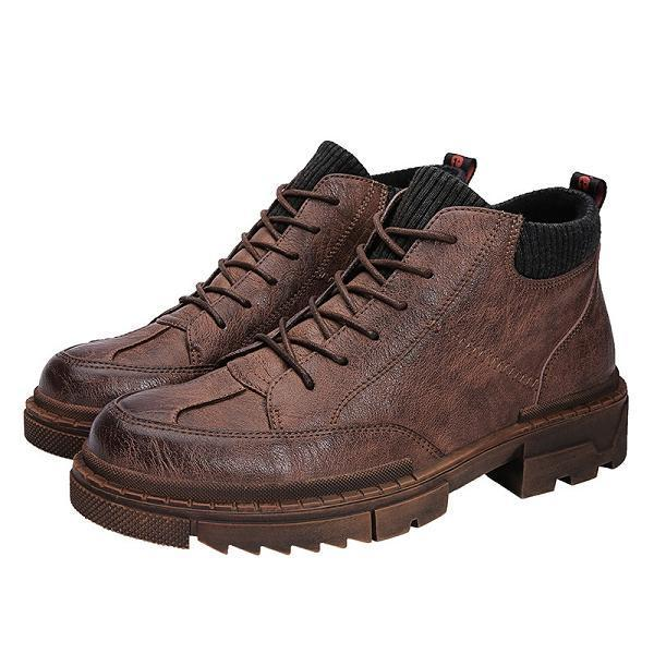 Men New Vintage Leather Martin Boots