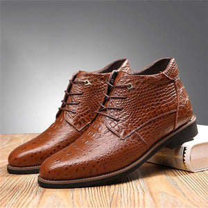 Men Large Size Crocodile Leather Warm Casual Boots