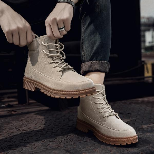 Men British Style High Top Desert Boots