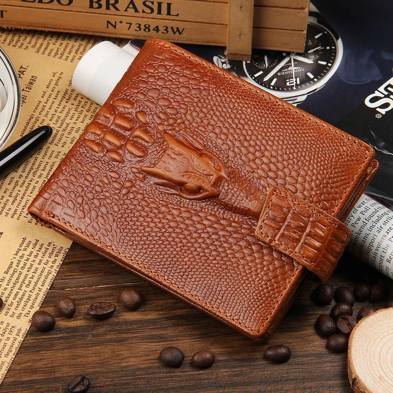Men's Leather Crocodile Pattern Short Wallet