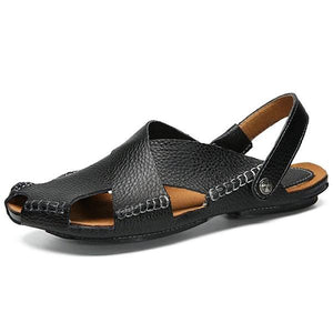 Men Genuine Leather Stitching Adjustable Heel Strap Casual Sandals