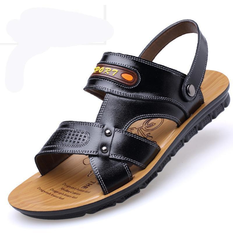 Men Toe Hook Loop Leather Sandals Shoes