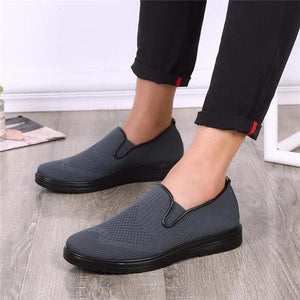Men Large Size Knitted Fabric Breathable Slip On Casual Cloth Shoes