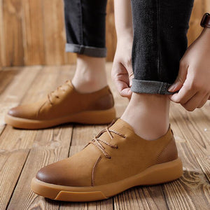 Men Retro Hand Stitching Leather Shoes Lace Up Casual Loafers