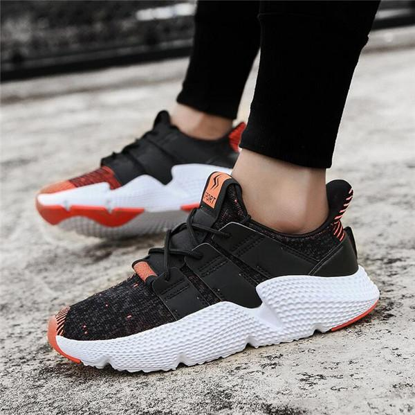 Men Knitted Fabric Slip Resistant Lace Up Casual Sneakers