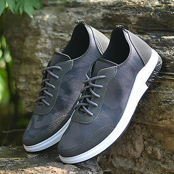 Men Camouflage Fabric Soft Sole Lace Up Running Sneakers