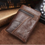 Men's Genuine Leather Stitching Short Wallet