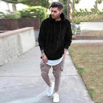 Men Solid Color Long Sleeve Hooded Casual Sweatshirt