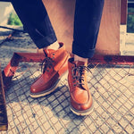 Men Goodyear Handmade Leather Retro Ankle Martin Boots