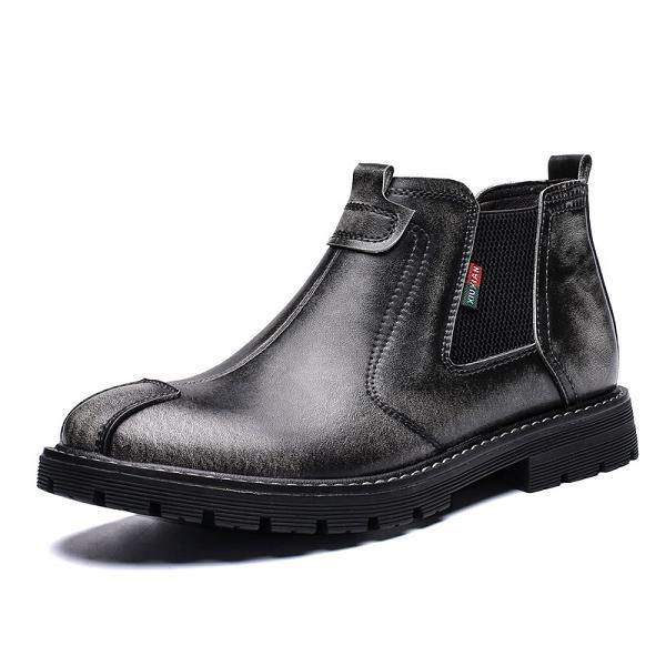 Men Genuine Leather British Style High Top Martin Boots