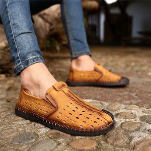 Men Hollow Out Breathable Stitching Leather Soft Shoes
