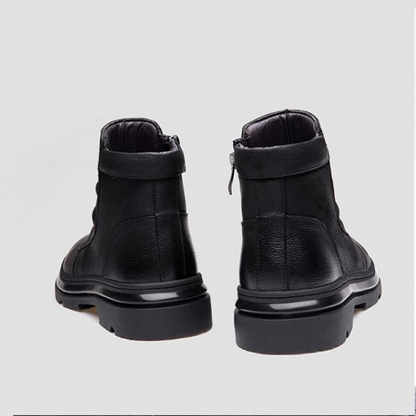 Men Genuine Leather Side Zipper Casual Boots