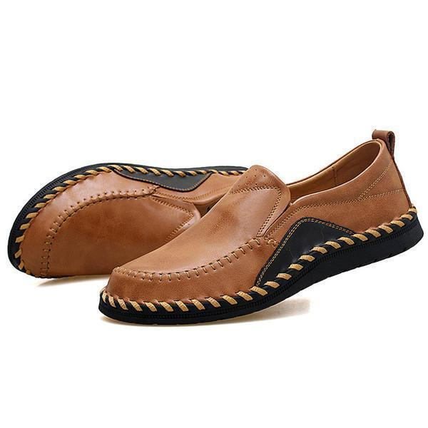 Men Genuine Leather Handmade Stitching Soft Soles Slip On Casual Shoes