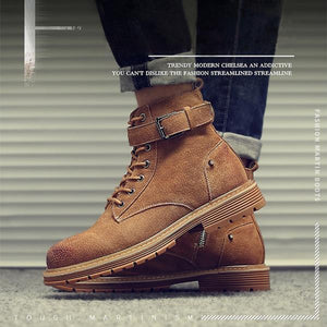 Men Leather Buckle High Top Lace Up Boots