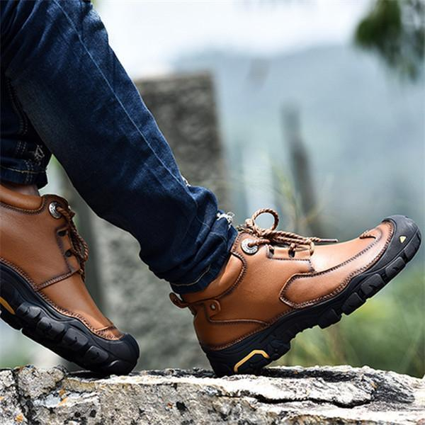 Men Casual Walking Outdoor Leisure Shoes Leather Shoes