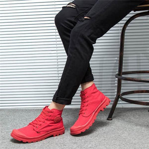 Men Canvas Pure Color High Top Lace Up Casual Shoes