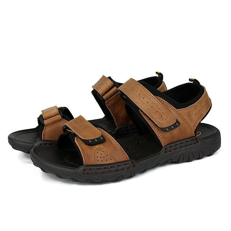 8f86818fafb Men Leather Hook Loop Slip Resistant Outdoor Casual Sandals – YEEZE