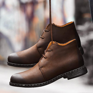Men British Style Lace Up Slip Resistant Casual Ankle Boots