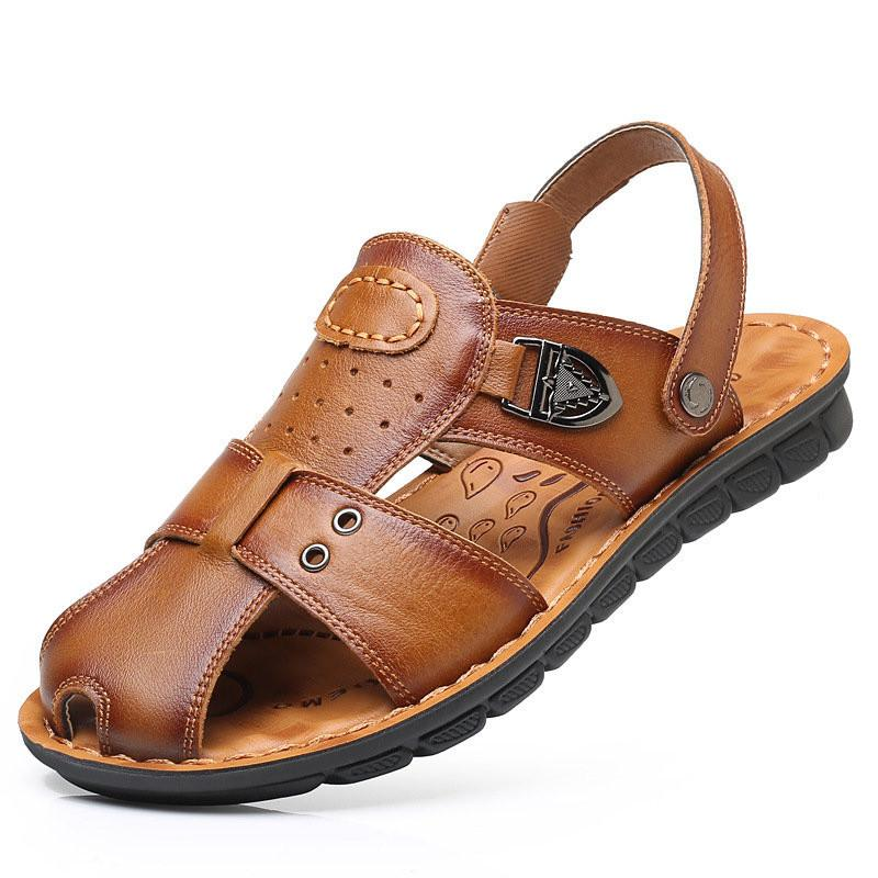 Men Closed Toe Slip Resistant Soft Outdoor Leather Sandals