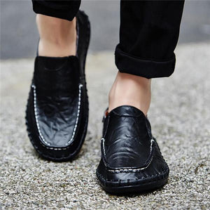Large Size Cow Leather Slip On Casual Flats Shoes