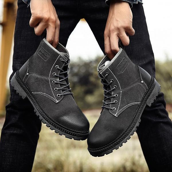 Men Retro high Top Lace Up Motorcycle Boots