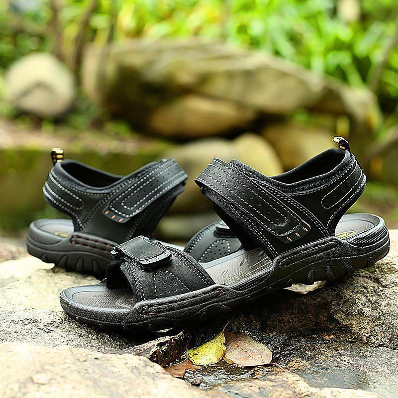 Men Leather Hook Loop Slip Resistant Outdoor Casual Sandals